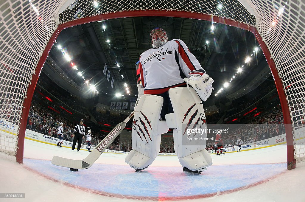 Jaroslav Halak #41 of the Washington Capitals tends net against the New Jersey Devils at the Prudential Center on April 4, 2014 in Newark, New Jersey. The Devils defeated the Capitals 2-1.