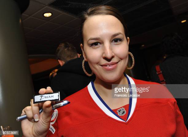 Jaroslav Halak's wife during the Hockey Fights Cancer Awareness Night before the NHL game against the New York Rangers on October 24 2009 at the Bell...