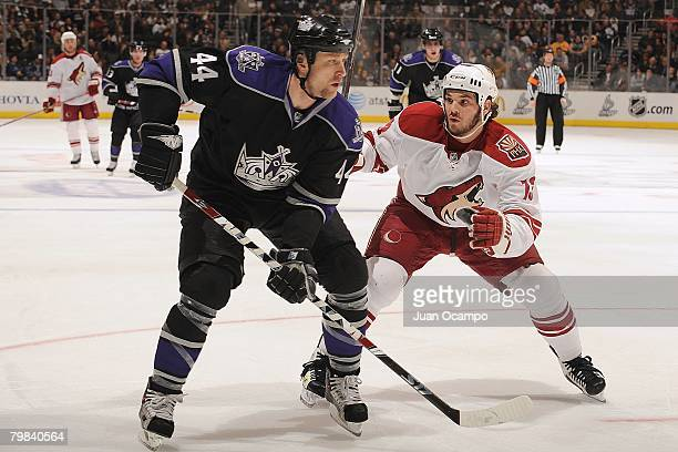 Jaroslav Modry of the Los Angeles Kings is defended by Daniel Carcillo of the Phoenix Coyotes during their game at Staples Center on Feburary 18 2008...