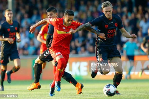 Jaroslav Navratil of Go Ahead Eagles Junior van der Velden of Jong Utrecht during the Dutch Keuken Kampioen Divisie match between Go Ahead Eagles v...