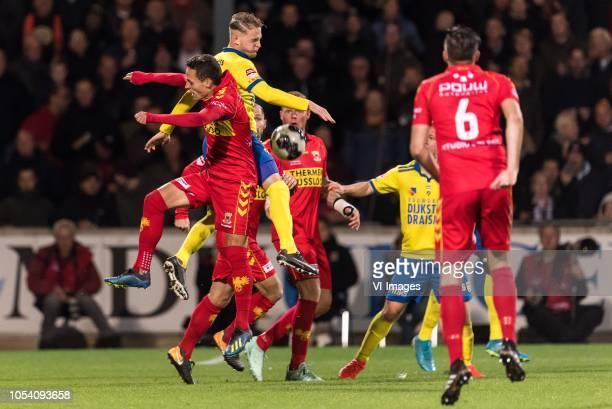 Jaroslav Navratill of Go Ahead Eagles Andrejs Ciganiks of SC Cambuur during the First Division match between Go Ahead Eagles and SC Cambuur...