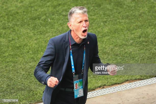 Jaroslav Silhavy, Head Coach of Czech Republic celebrates following his team's victory in the UEFA Euro 2020 Championship Group D match between...