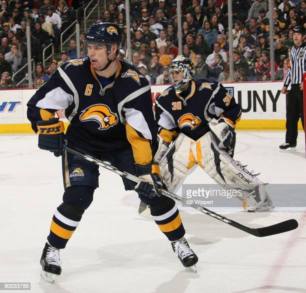 Jaroslav Spacek and Ryan Miller of the Buffalo Sabres defends against the Philadelphia Flyers on February 25, 2008 at HSBC Arena in Buffalo, New York.