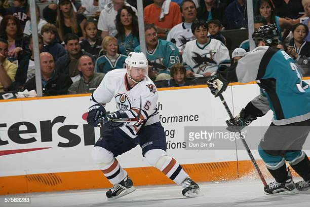 Jaroslav Spacek of the Edmonton Oilers passes the puck during Game 2 of the Western Conference Semifinals against the San Jose Sharks on May 8, 2006...