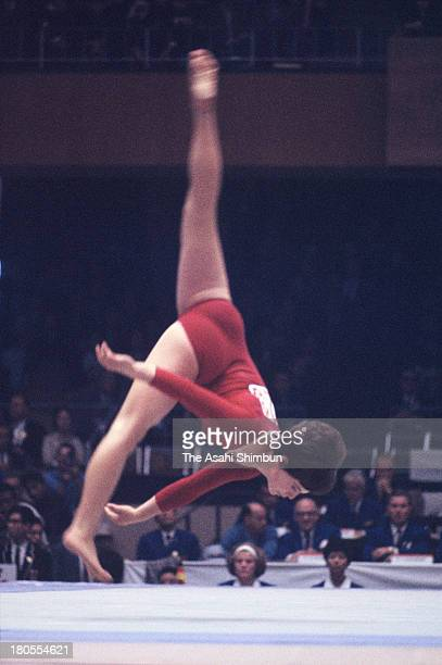Jaroslava Sedlackova of Czechoslovakia competes in the Floor of the Women's Artistic Gymnastics Individual AllAround during the Tokyo Olympics at...
