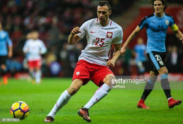 Jaroslaw Jach in action during the international friendly match between Poland and Uruguay at National Stadium on November 10 2017 in Warsaw Poland