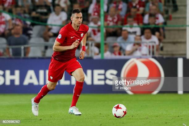 Jaroslaw Jach of Poland in action during the UEFA European Under21 Championship Group A match between England and Poland at Kielce Stadium on June 22...
