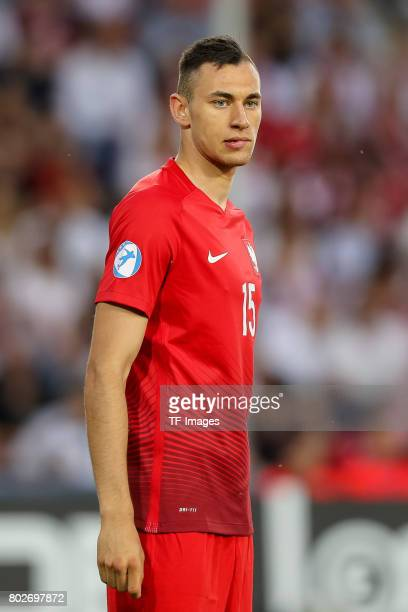 Jaroslaw Jach of Poland looks on during the UEFA European Under21 Championship Group A match between England and Poland at Kielce Stadium on June 22...