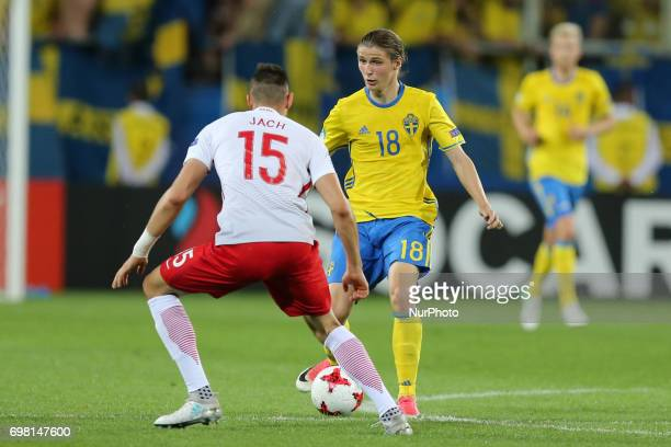 Jaroslaw Jach Pawel Cibicki during the UEFA U21 match between Poland and Sweden at Arena Lublin on June 19 2017 in Lublin Poland