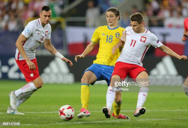 Jaroslaw Jach Pawel Cibicki Przemyslaw Frankowski during the UEFA U21 match between Poland and Sweden at Arena Lublin on June 19 2017 in Lublin Poland