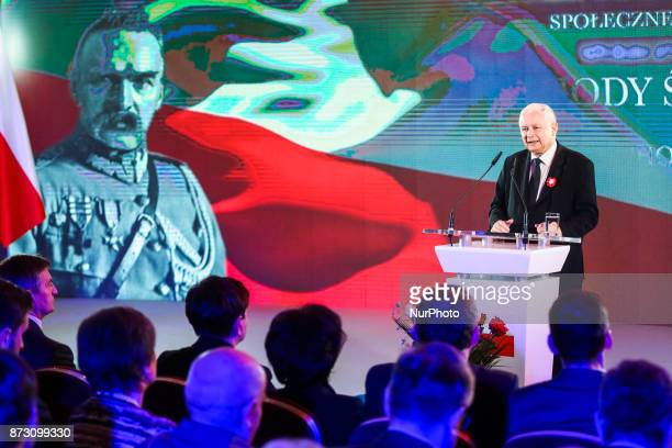 Jaroslaw Kaczynski a chairman of Law and Justice political party speaks during the Patriotic Meeting at Sherathon Hotel as a part of the celebration...