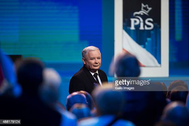 WARSAW POLAND SEPTEMBER 12 Jaroslaw Kaczynski attends The National Convention of the Law And Justice Political Party on September 12 2015 in Warsaw...