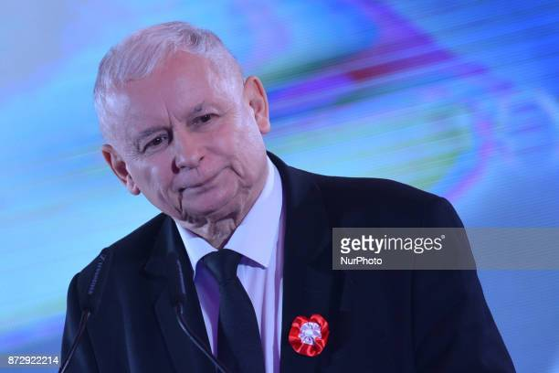 Jaroslaw Kaczynski Chairman of Law and Justice political party speaks to his party mermbers during The Patriotic Meeting at Sherathon Hotel a part of...