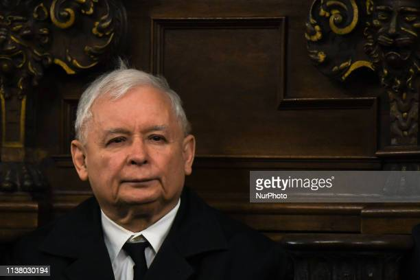 Jaroslaw Kaczynski during the celebrations of the Holy Thursday mass in Wawel Royal Cathedral in Krakow Mateusz Morawiecki Prime Minister of Poland...