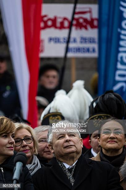 Jaroslaw Kaczynski, leader of Poland's ruling party Law and Justice , gives a speech in front of the Constitutional Court during a pro-government...