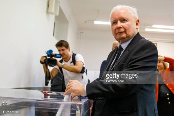 Jaroslaw Kaczynski leader of the governing rightwing Law and Justice political party casts his ballot in the Polish parliamentary elections on...