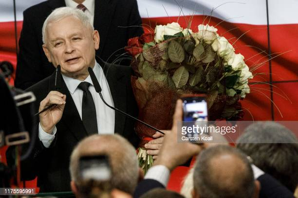 Jaroslaw Kaczynski leader of the governing rightwing Law and Justice political party speaks to supporters following the announcement of first results...