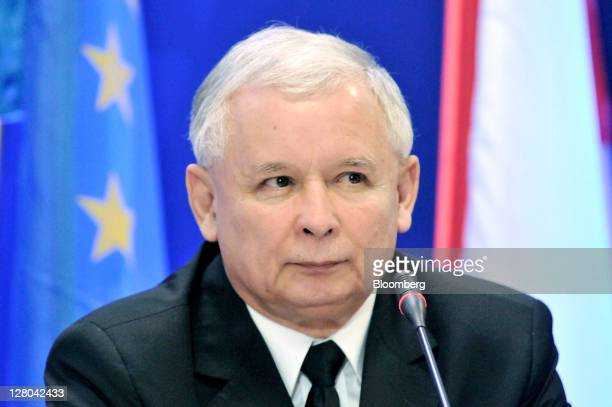 Jaroslaw Kaczynski leader of the Law Justice party pauses during a meeting to introduce his proposed cabinet before Sunday's national election in...