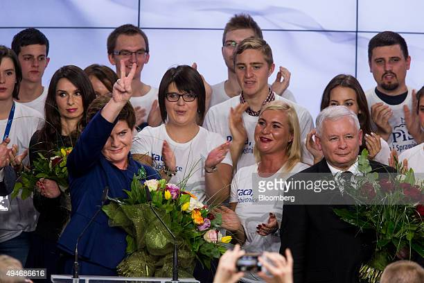 Jaroslaw Kaczynski leader of the opposition Law and Justice Party right and Beata Szydlo deputy chairman of the opposition Law and Justice Party and...