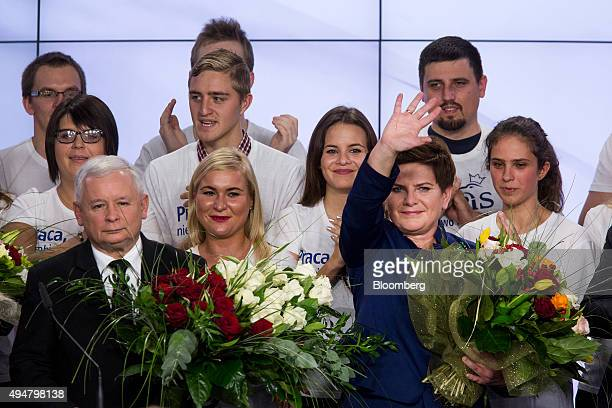 Jaroslaw Kaczynski leader of the opposition Law and Justice Party left and Beata Szydlo deputy chairman of the opposition party and candidate for...