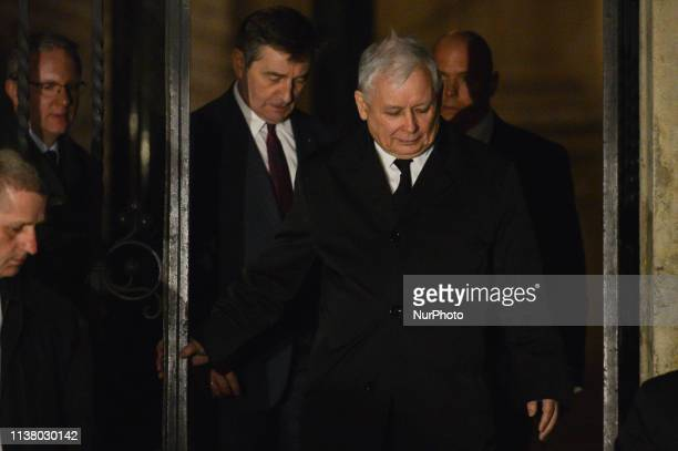 Jaroslaw Kaczynski leave the cathedrale after the celebrations of the Holy Thursday mass in Wawel Royal Cathedral, in Krakow. Mateusz Morawiecki,...