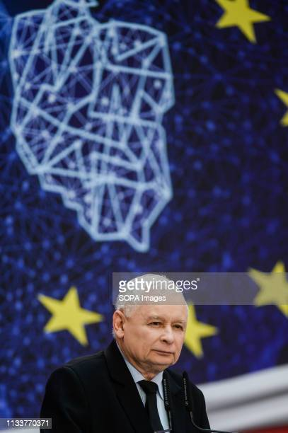 TECHNOLOGY GDANSK POMERANIA POLAND Jaroslaw Kaczynski seen speaking during the Law and Justice convention