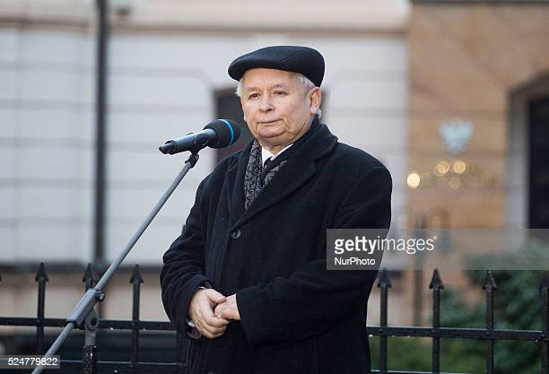 Jaroslaw Kaczynski speaks before the Constitutional Court on the march of freedom and solidarity organized by the ruling party Law and Justice in...