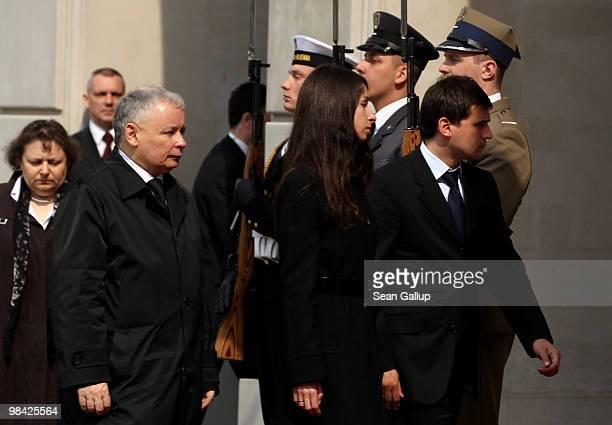 Jaroslaw Kaczynski twin brother of late Polish President Lech Kaczynski and Lech Kacynski's daughter Marta Kaczynska walk into the Presidential...