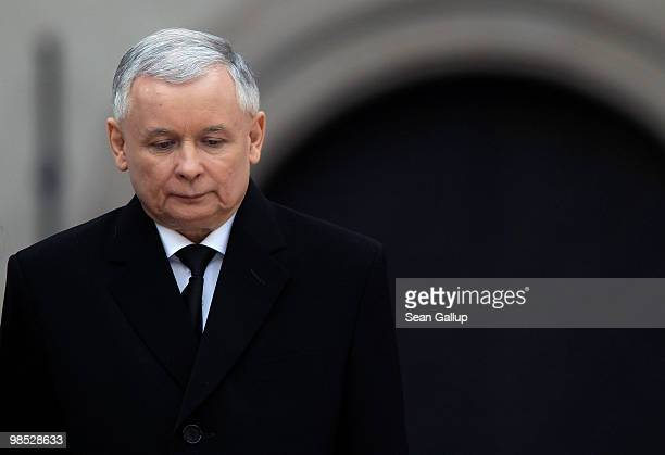 Jaroslaw Kaczynski twin brother of late Polish President Lech Kazcynski receives condolences from international delegations at the funeral of Lech...