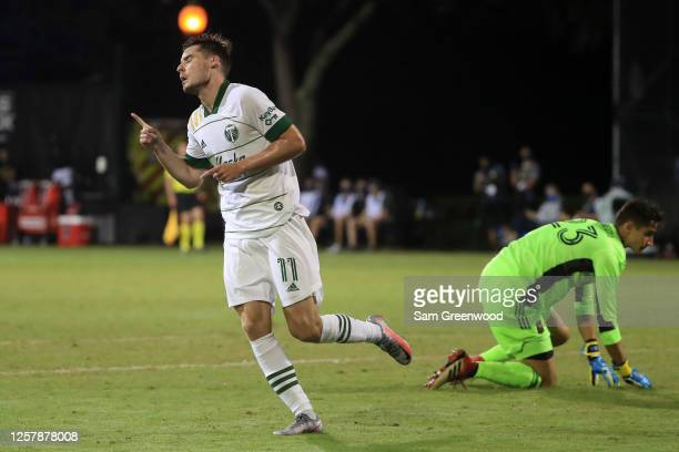 Jaroslaw Niezgoda of Portland Timbers celebrates after scoring the opening goal of the match against Los Angeles FC as part of Group F of MLS Is Back...