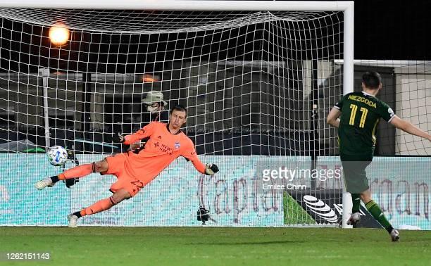 Jaroslaw Niezgoda of Portland Timbers scores a goal on Przemyslaw Tyton of FC Cincinnati in penalty kicks during a round of sixteen match in the MLS...