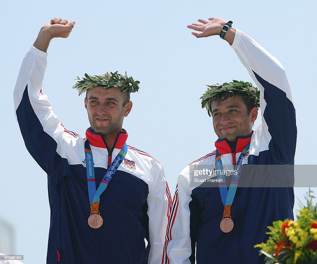 Jarosloav Volf and Ondres Stephanek of Czech Republic receive their bronze medals during ceremonies for the men's C-2 class slalom event on August 20, 2004 during the Athens 2004 Summer Olympic Games at the Schinias Olympic Slalom Centre in Athens, Greece.