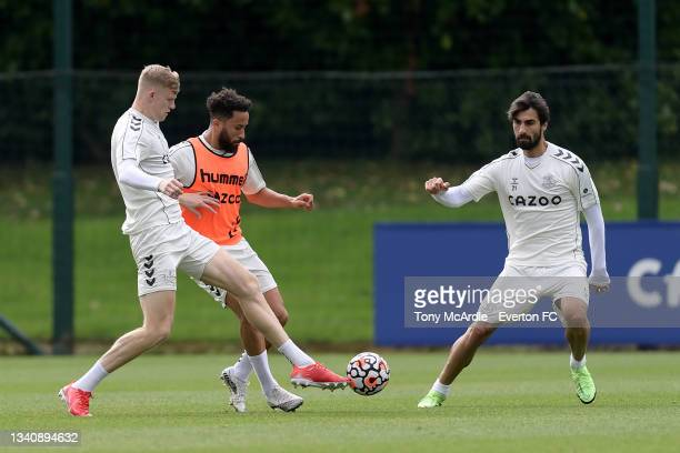 Jarrad Branthwaite Andros Townsend and Andre Gomes during the Everton Training Session at USM Finch Farm on September 16 2021 in Halewood, England.