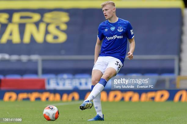 Jarrad Branthwaite Everton during the Premier League match Everton and AFC Bournemouth at Goodison Park on July 26 2020 in Liverpool England
