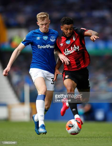 Jarrad Branthwaite of Everton and Joshua King of AFC Bournemouth compete for the ball during the Premier League match between Everton FC and AFC...