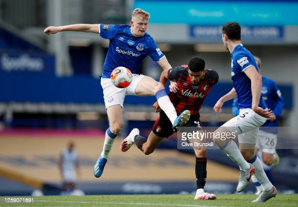 Jarrad Branthwaite of Everton battles for possession with Dominic Solanke of AFC Bournemouth during the Premier League match between Everton FC and...