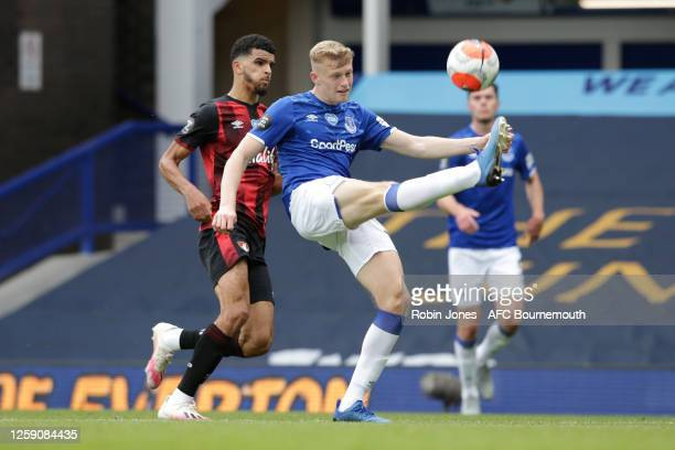 Jarrad Branthwaite of Everton clears the ball from Dominic Solanke of Bournemouth during the Premier League match between Everton FC and AFC...