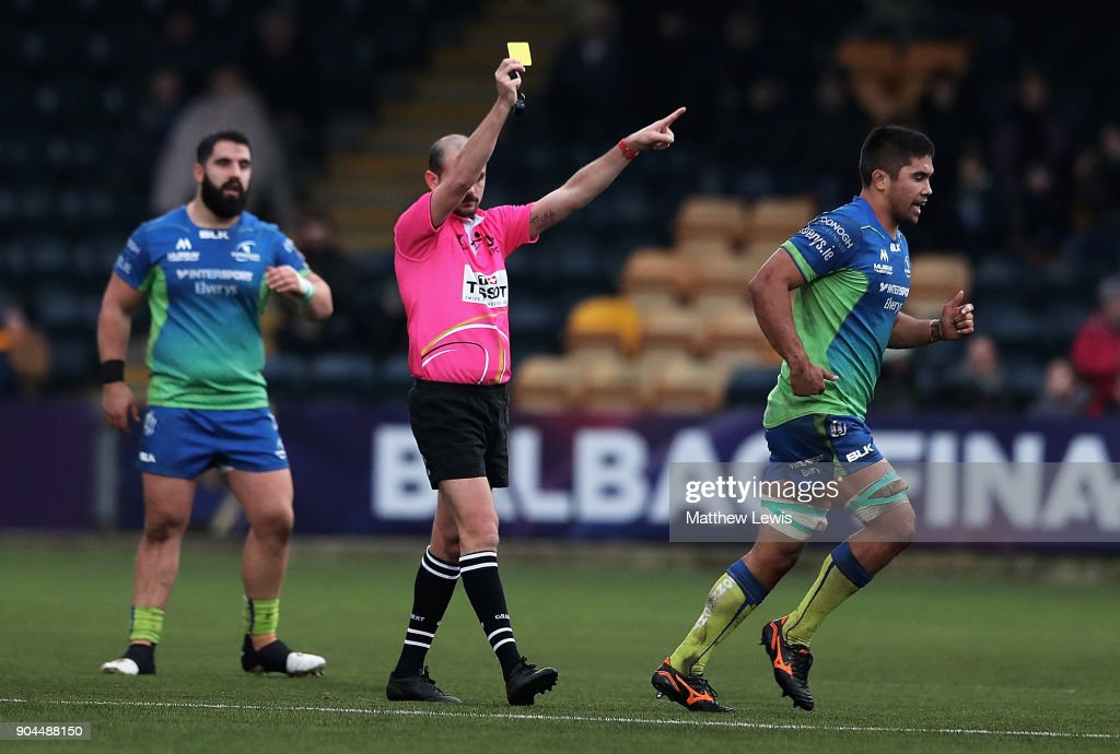 Jarrad Butler of Connacht Rugby is awarded a yellow card by referee Alexandre Ruiz during the European Rugby Challenge Cup match between Worcester Warriors and Connacht Rugby on January 13, 2018 in Worcester, United Kingdom.