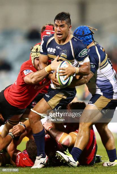 Jarrad Butler of the Brumbies in action during the round 12 Super Rugby match between the Brumbies and the Lions at GIO Stadium on May 12, 2017 in...