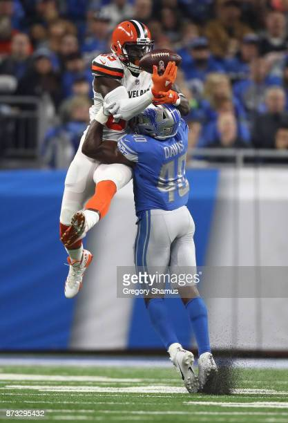 Jarrad Davis of the Detroit Lions breaks up a pass intended for David Njoku of the Cleveland Browns during the first half at Ford Field on November...