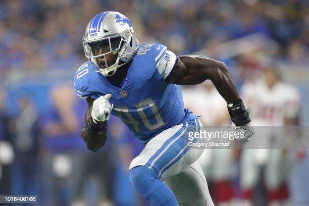 Jarrad Davis of the Detroit Lions eyes the ball during a first half play while playing the New York Giants during a pre season game at Ford Field on...