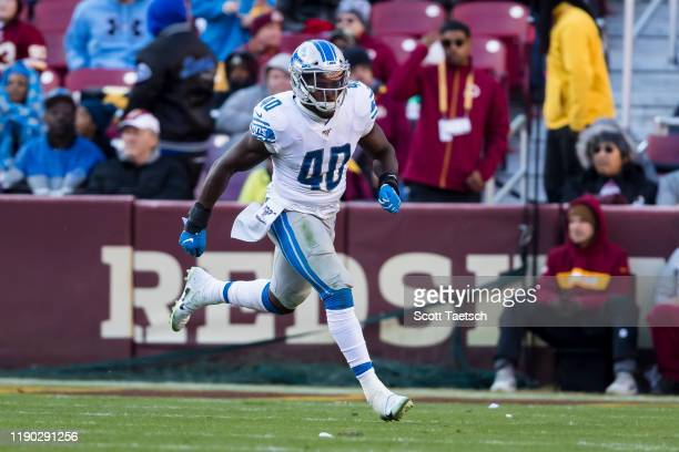 Jarrad Davis of the Detroit Lions in action against the Washington Redskins during the second half at FedExField on November 24, 2019 in Landover,...