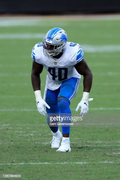 Jarrad Davis of the Detroit Lions lines up during the game against the Jacksonville Jaguars at TIAA Bank Field on October 18, 2020 in Jacksonville,...
