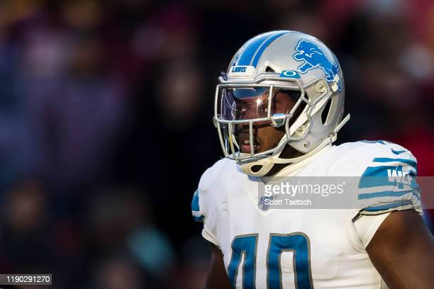 Jarrad Davis of the Detroit Lions looks on against the Washington Redskins during the second half at FedExField on November 24, 2019 in Landover,...