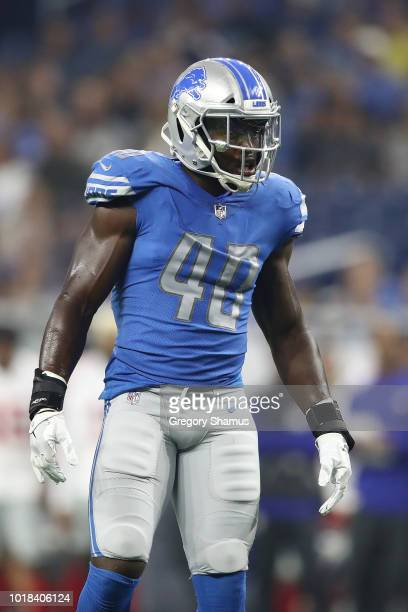 Jarrad Davis of the Detroit Lions prepares for a play while playing the New York Giants during a pre season game at Ford Field on August 17, 2017 in...