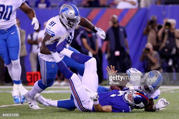 Jarrad Davis of the Detroit Lions sacks Eli Manning of the New York Giants in the first half during their game at MetLife Stadium on September 18...