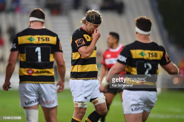 Jarrad Hoeata of Taranaki reacts after being sent off during the round eight Mitre 10 Cup match between Canterbury and Taranaki at Christchurch...