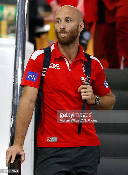 Jarrad McVeigh looks on during a Sydney Swans AFL press conference at the Melbourne Airport on September 22 2016 in Melbourne Australia