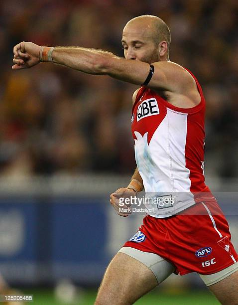 Jarrad McVeigh of the Swans celebrates a goal during the AFL Second Semi Final match between the Hawthorn Hawks and the Sydney Swans at Melbourne...