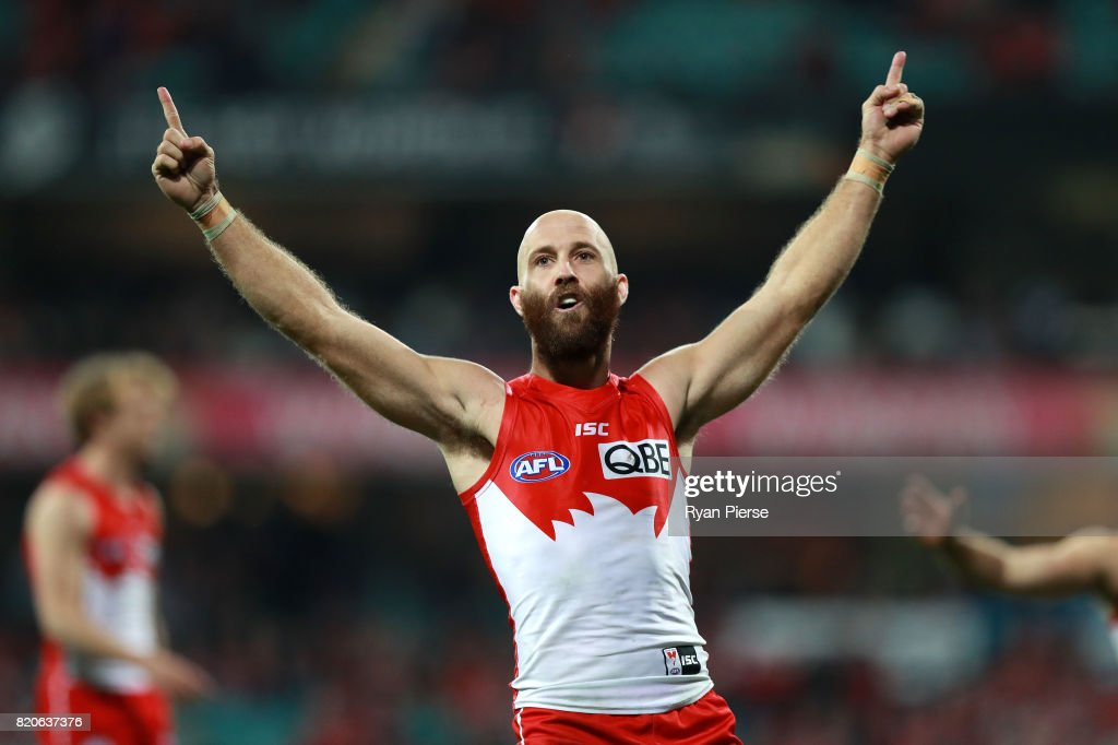 Jarrad McVeigh of the Swans celebrates a goal during the round 18 AFL match between the Sydney Swans and the St Kilda Saints at Sydney Cricket Ground on July 22, 2017 in Sydney, Australia.